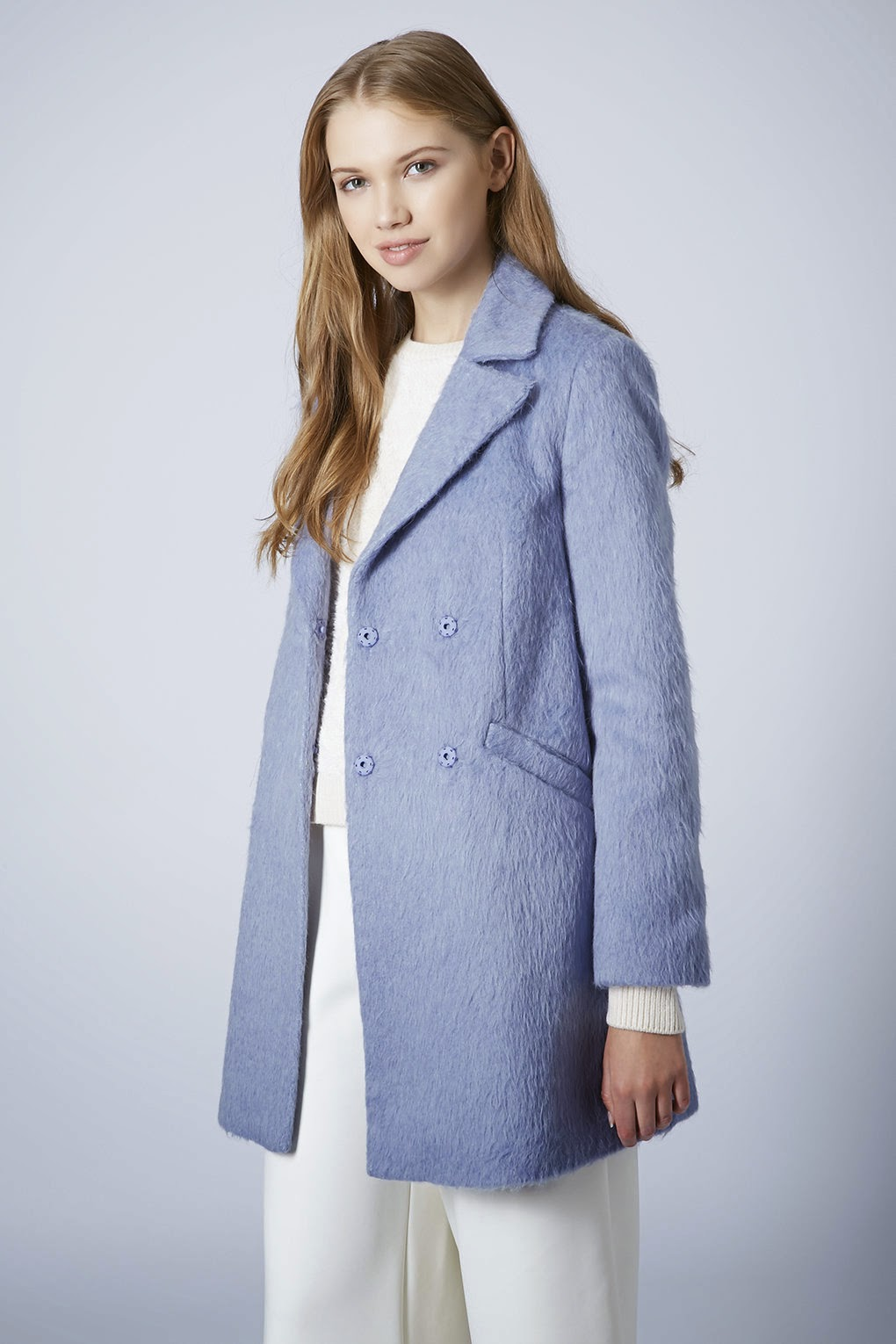 sky blue wool coat