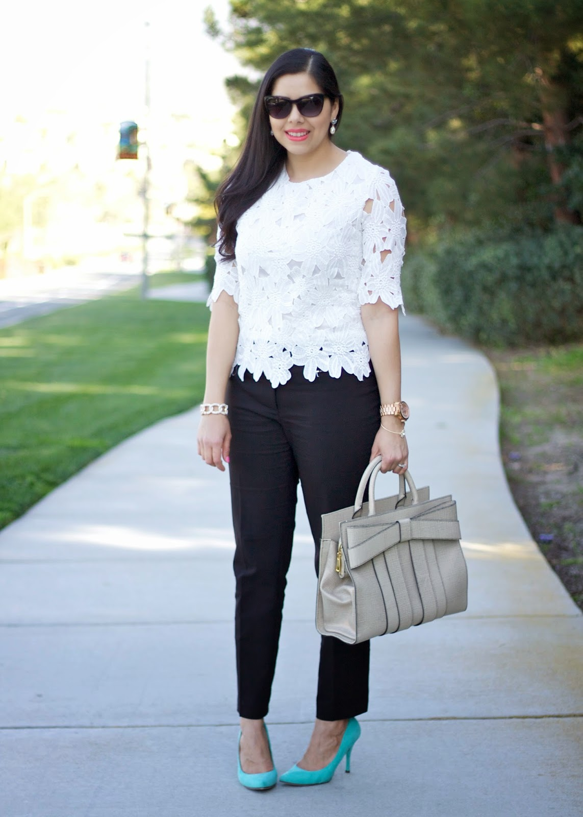 Brunch outfit, bridal shower outfit, what to wear to a baby shower, white lace and black pants, black and white cute outfit 2015