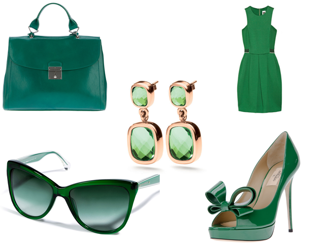 Selection of Green Accessories in Emerald the Pantone Colour of the Year 2013
