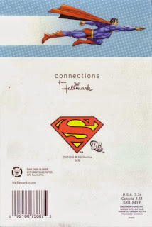 Back of Superman chained birthday card from Hallmark
