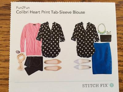 Colibri Heart Print Tab-Sleeve Blouse