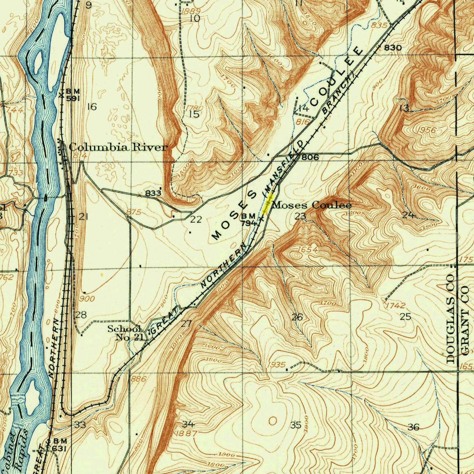 1912 moses coulee map