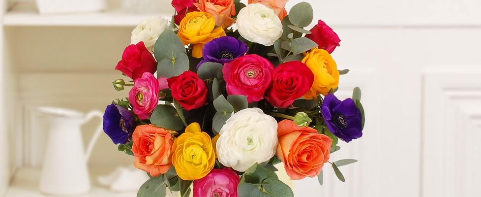 Ranunculi and roses