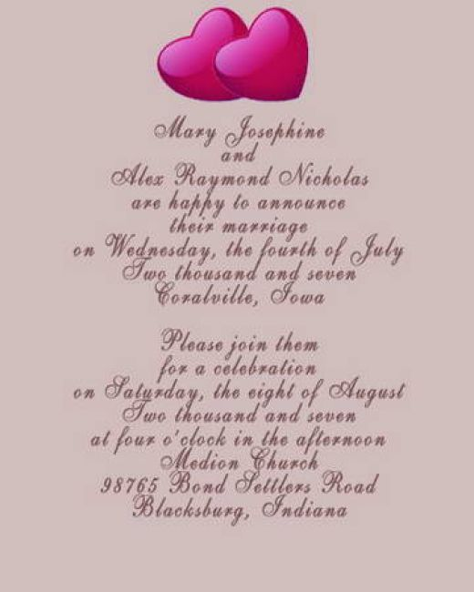 Pictures Of Wedding Invitation Wording Suggestions