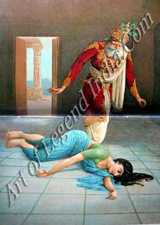 King Dasaratha finds Queen Kaikeyi collapsed on a tile floor