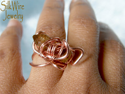 Citrine Ring, Copper, Handmade Jewelry, Gemstone and Crystal Jewelry, Citrine