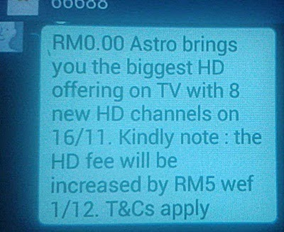 Bil Astro naik, bil Astro mahal, Bayaran Bil Astro Naik RM5 Untuk Saluran HD, Bayaran Bil Bulanan Astro Naik RM5 Mulai 1 Disember 2014, sebab bil Astro naik, bayaran langgan Astro, 8 saluran HD di Astro