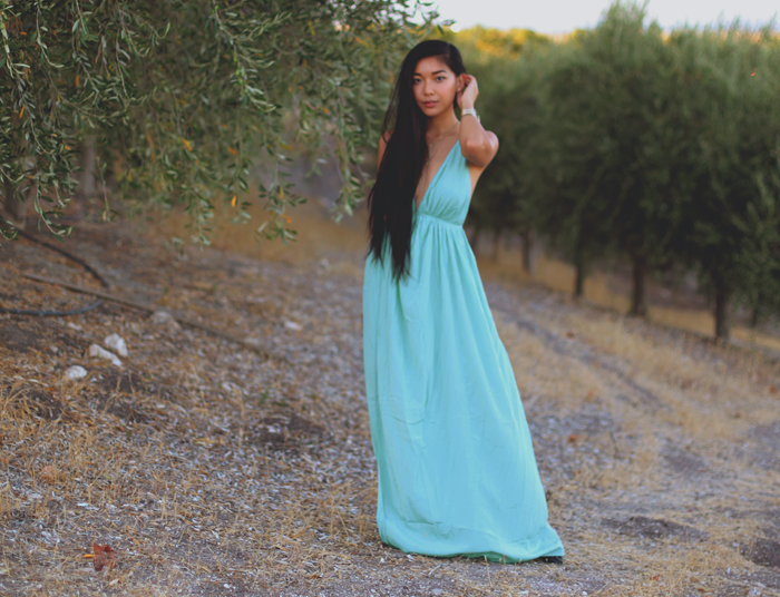 Stephanie Liu of Honey & Silk wearing Lulu*s Titania dress and Chinese Laundry flats