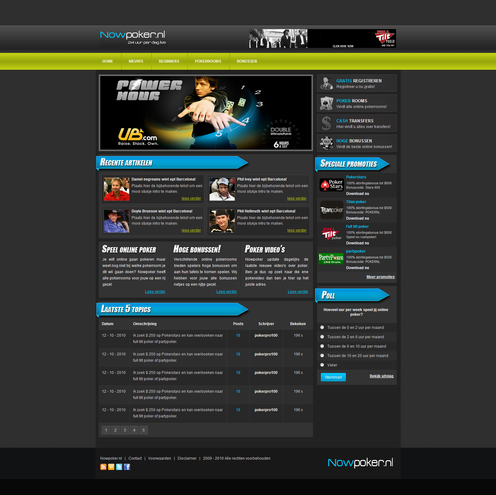 Theme-stock | Great website templates: Professional HTML Poker ...