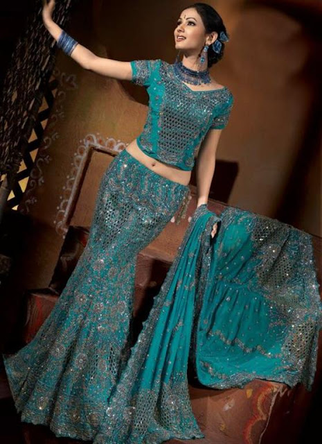 Sky Blue Stylish Fish Cut Lehnga