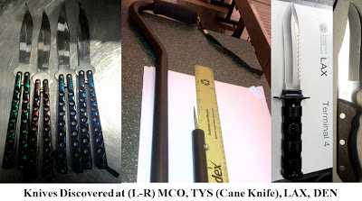 Assorted knives discovered at checkpoints around the country.