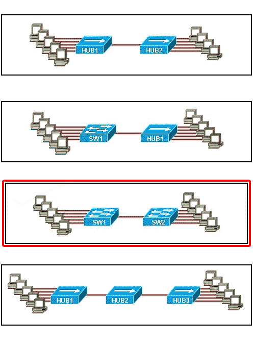 Which topology divides the collision domain and provides full media bandwidth to the hosts in the network?