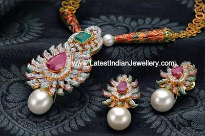 Diamond Necklace Meenakari Work