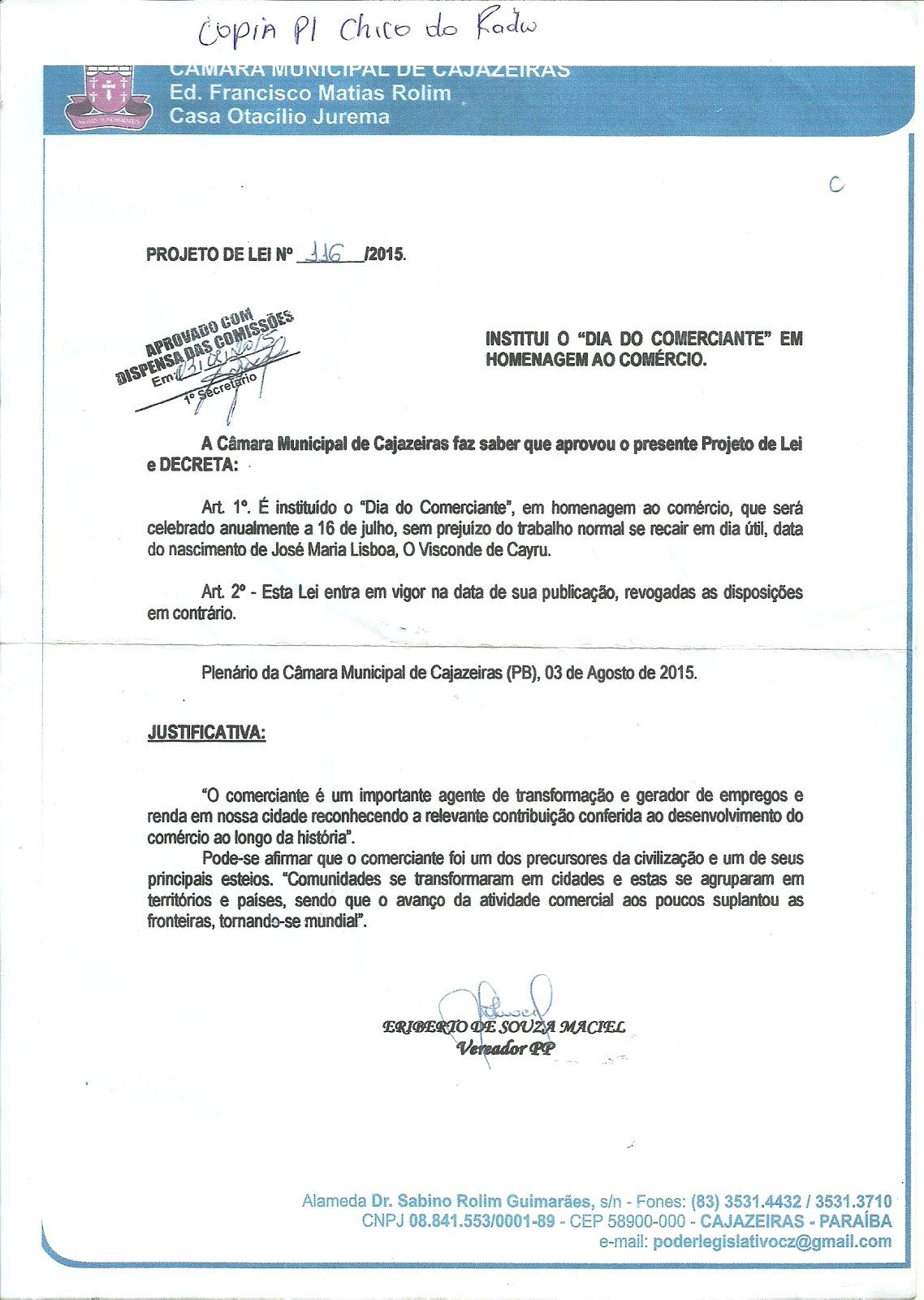 AGORA  É LEI MUNICIPAL A COMEMORAÇÃO AO DIA DO COMERCIANTE  COM  LEI  APROVADA