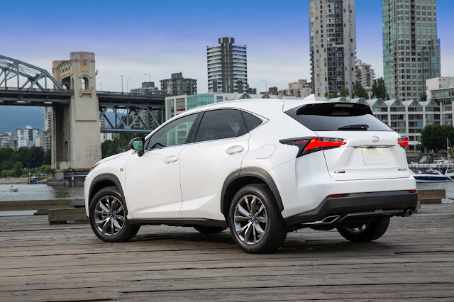 Rear 3/4 view of 2015 Lexus NX 200t F-Sport.
