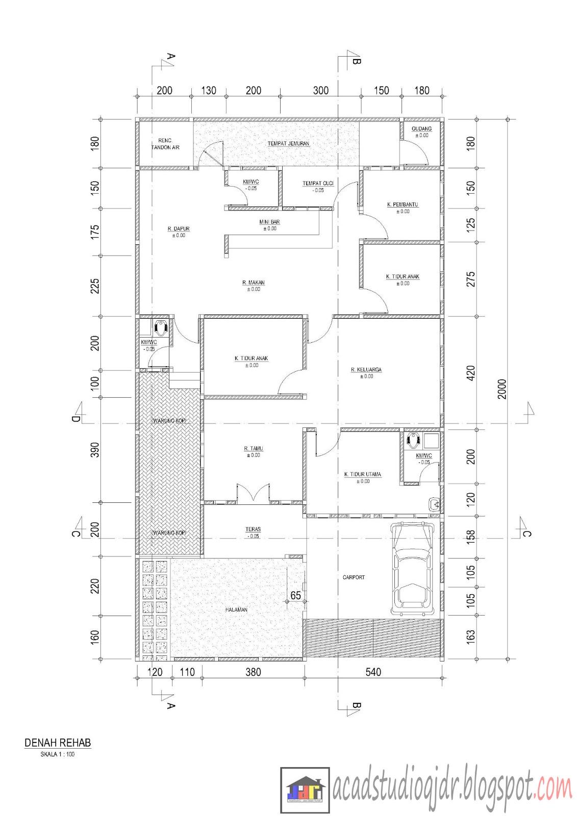 Denah rumah ukuran 11,30 m x 20,00 m dengan komposisi ruangan :