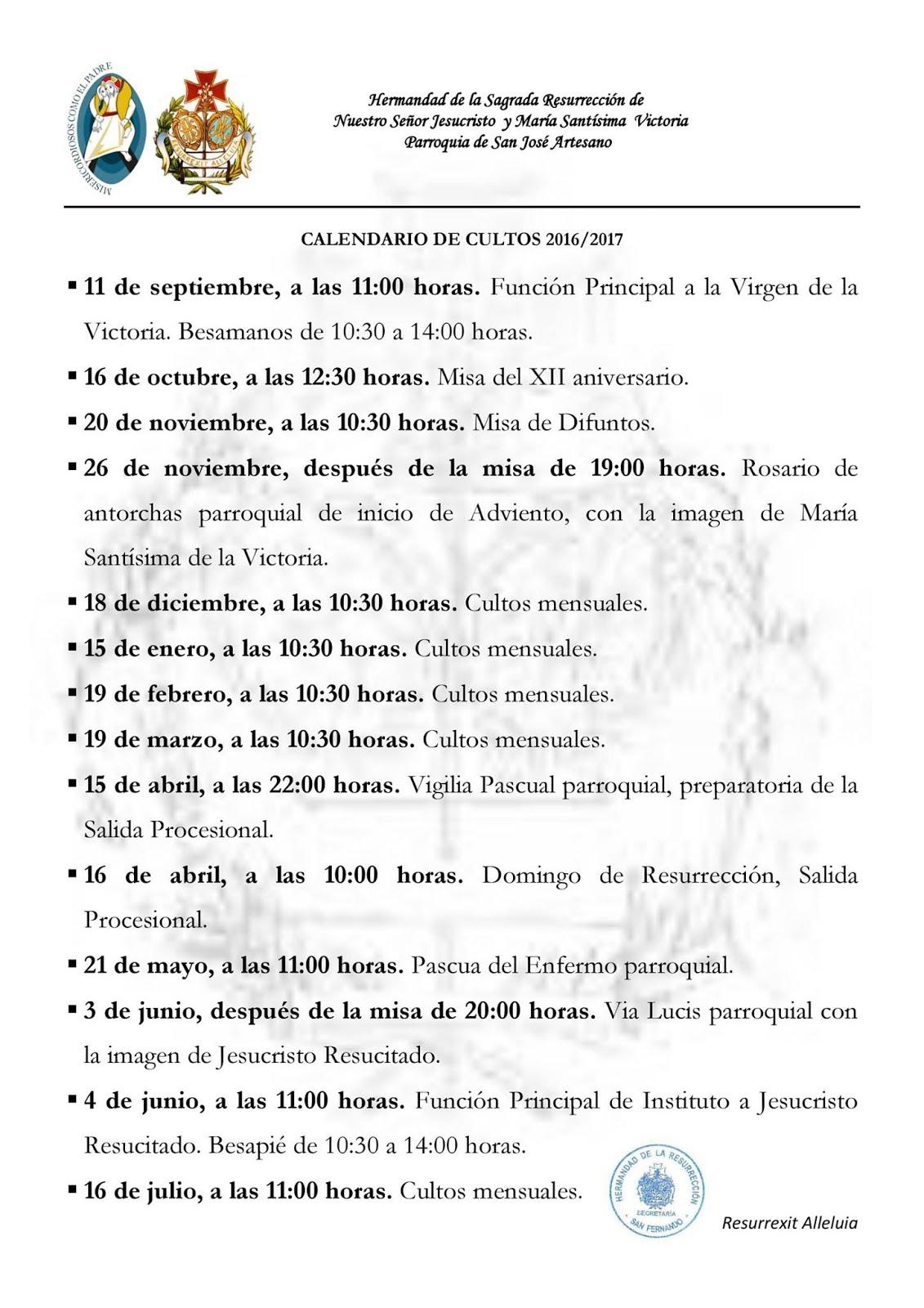 Calendario de cultos 16/17