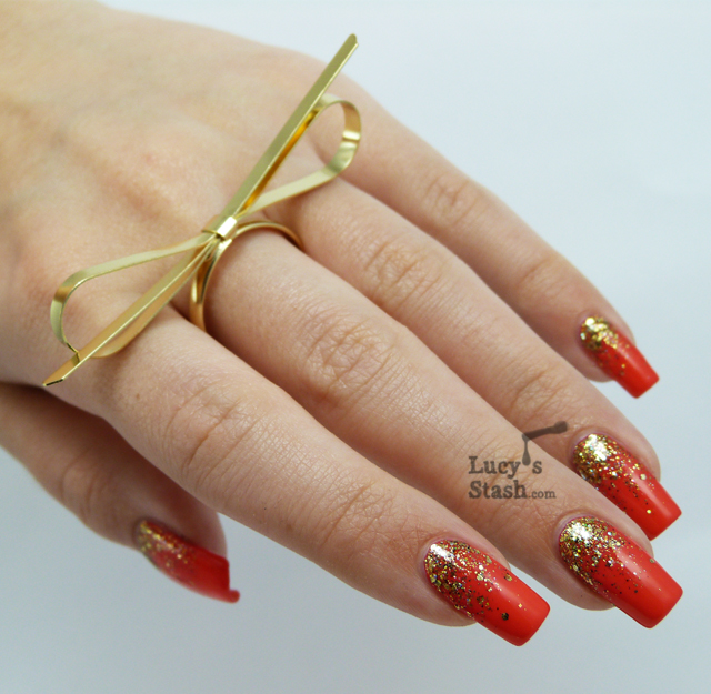 Lucy's Stash - Gold gradient nail art with Shimmer Tracy and Bad Apple Jelly Pink Apple