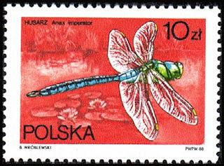 Sello polaco de una libélula emperador (Anax imperator)