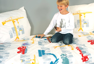 Children's Bedding - Fred the Dog Chantier Duvet Cover Set. Shown in a children's bedroom.