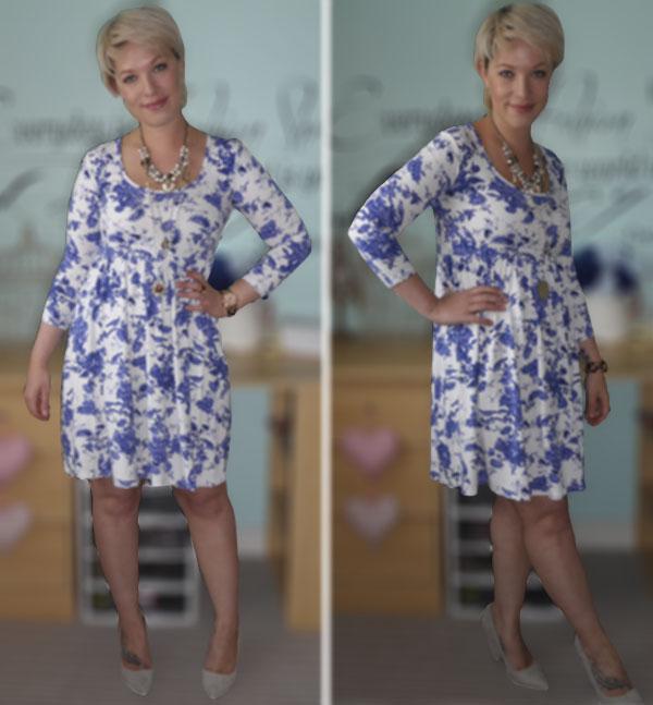 Blue Print ASOS Dress, Nude Office Shoes