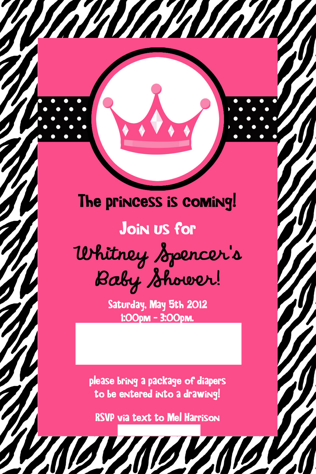 my heart is a house whitney's baby shower pink zebra princess, Baby shower invitations