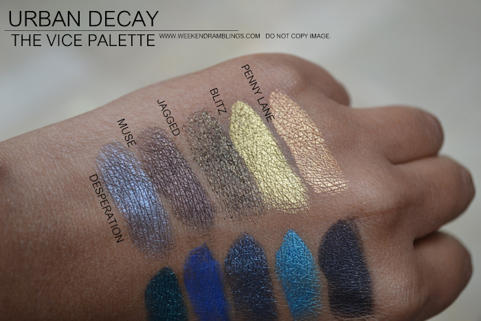 urban decay vice palette eyeshadows indian makeup beauty blog swatches desperation muse jagged blitz penny lane