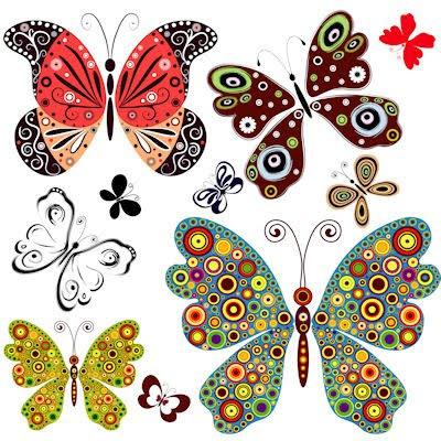 Banco de im genes paquete o set de mariposas en hermosos - Imagenes de mariposas de colores ...