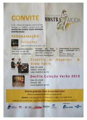 Primeiro evento do segmento do Médio Paraíba: Convite.