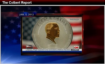 Steven Colbert reports on the Trillion Dollar Platinum Coin Option
