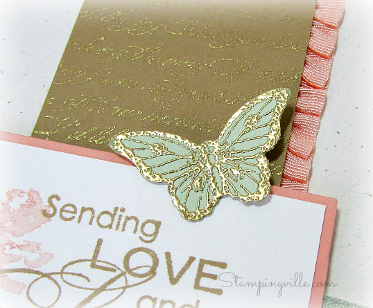 Gold embossed butterfly + Bitty Butterfly punch