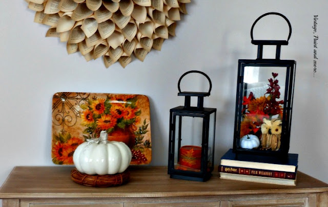 Vintage, Paint and more... fall vignette with thrifted lanterns, book page wreath and grape vine wreath