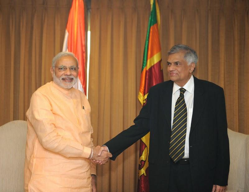 Modi with Ranil Wickremesinghe in Sri Lanka