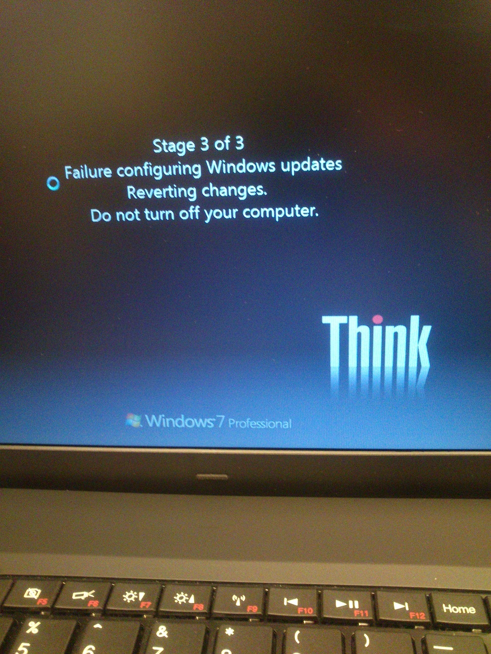 failure configuring windows updates reverting changes windows 7