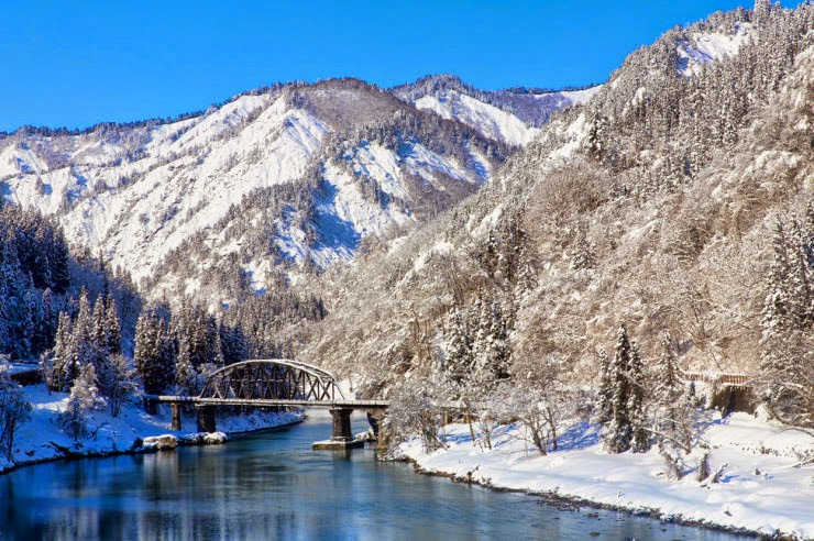 Tadami River and a Scenic Ride in the Mountains, Japan