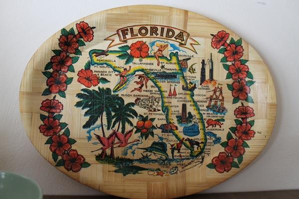 vintage mid century bamboo florida souvenier platter