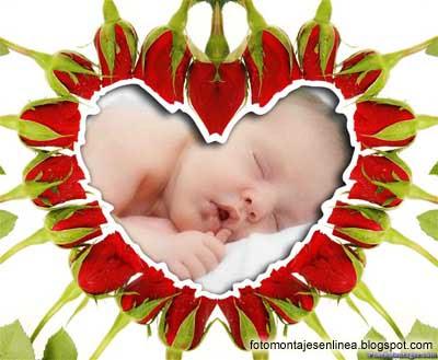 fotomontaje de flores con un corazón