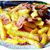 Patatine fritte gratinate con formaggio Cheddar e Prosciutto di Praga