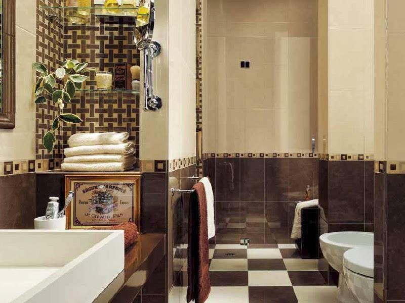 Baños Azulejos Beige:de baños elegantes con azulejos en beige y tonos marrones que