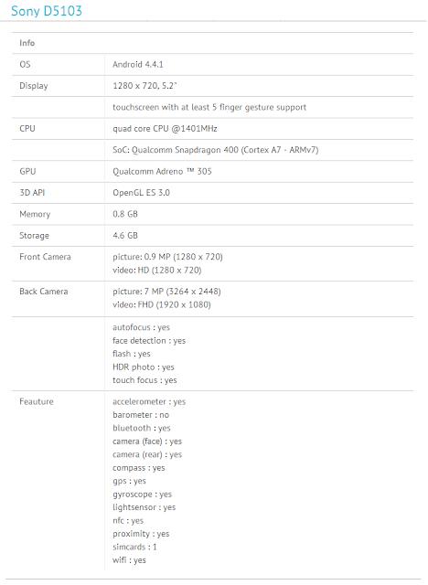 Sony D5103 specs