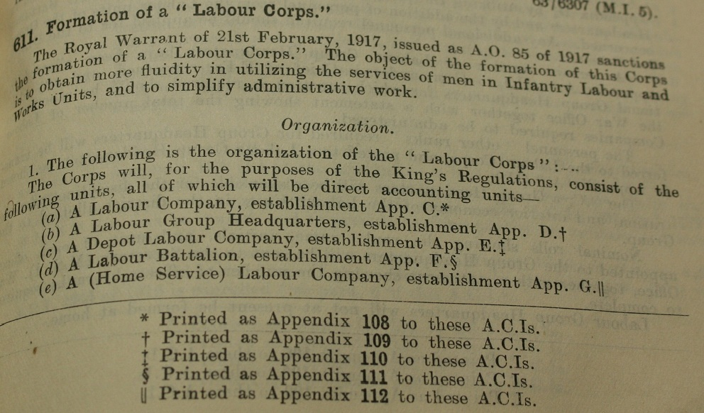 Army Service Numbers 1881 1918 The Formation Of The Labour Corps In