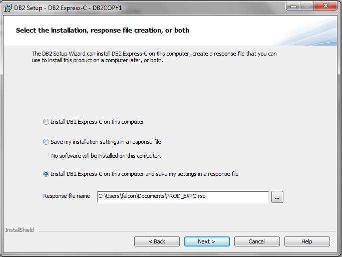 select the instalation, response file creation, or both DB2