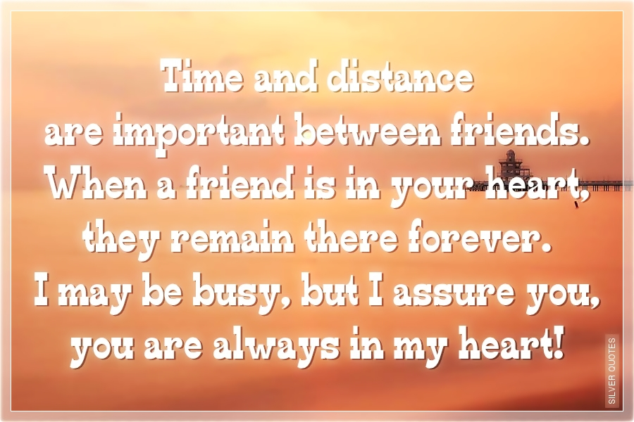 Quote About Distance And Friendship Stunning Time And Distance Are Important Between Friends  Silver Quotes