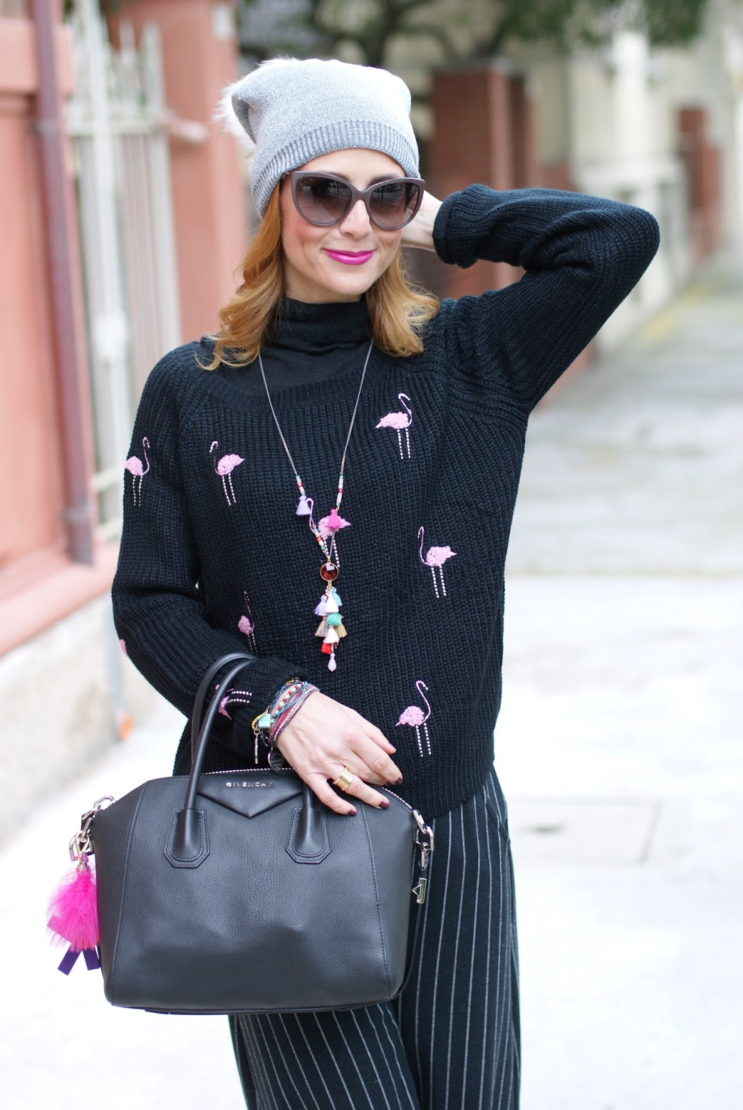 Flamingo sweater, tassels necklace and slip on sequin sneakers, casual feminine outfit on Fashion and Cookies fashion blog, fashion blogger style