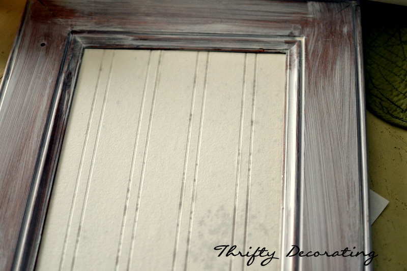 Thrifty decorating standard builder 39 s cabinet upgrade for Beadboard wallpaper on kitchen cabinets