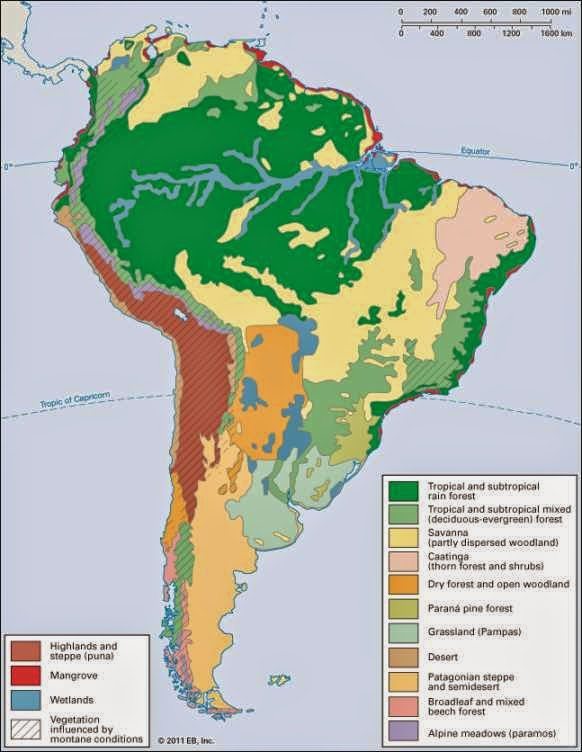 Climate map of Latin America showing climate regions in South America.