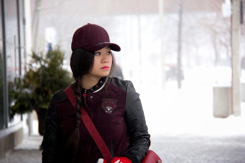 Burgundy-Aritzia-Baseball-Cap, Varsity-Jacket, Zara-Boxy-Bag, Street-Style