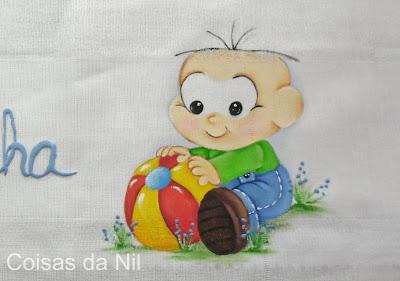 fralda para menino com pintura do Cebolinha
