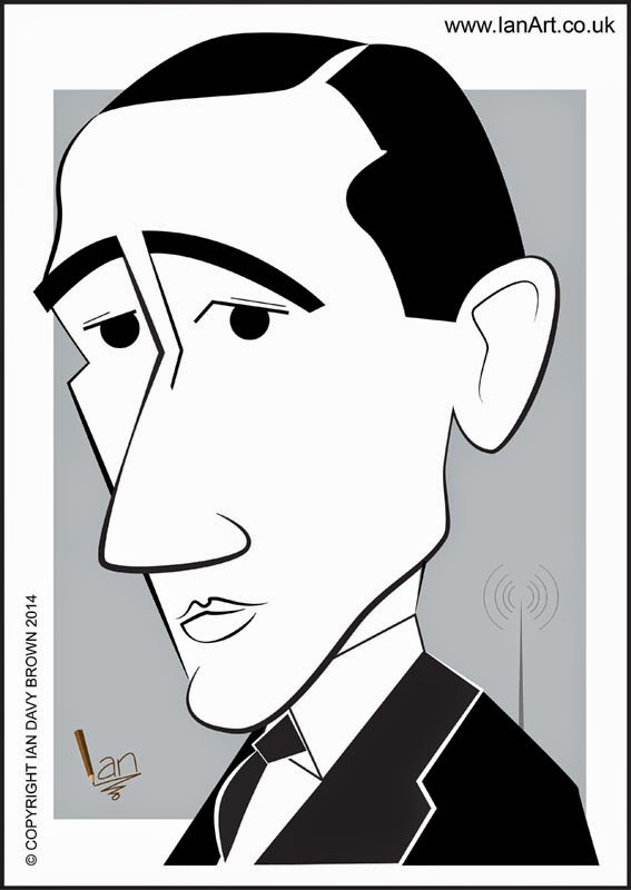 Guglielmo Marconi caricature by Ian Davy Brown