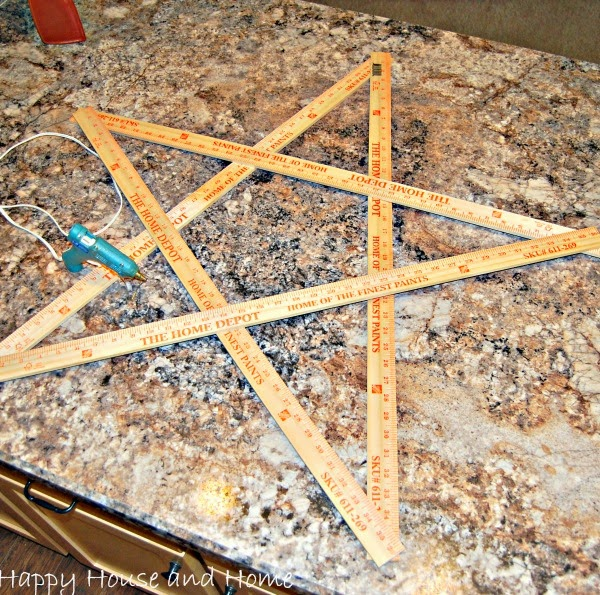 4th of July decor, DIY star, star with yard sticks, wooden star,